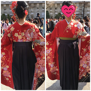 A front and back picture of a female Japanese student wearing a traditional hakama on her graduatuon day