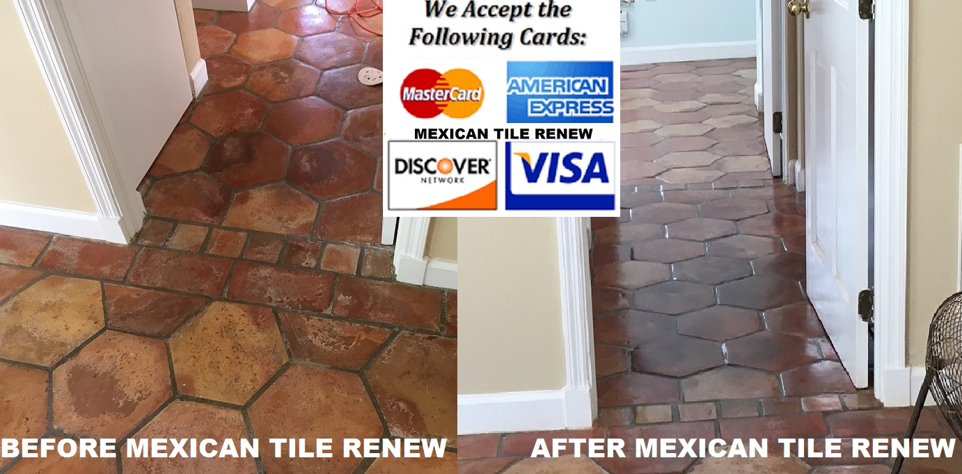 Mexican tile renew sarasota fl cleaning sealing mexican tile mexican tile renew project on longboat key fl with old time octagon saltillo tiles that had been cleaned with vinegar over the years dailygadgetfo Image collections