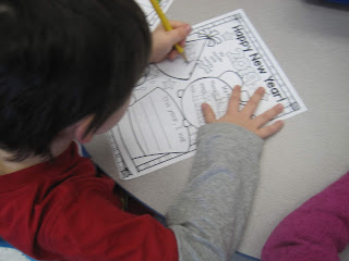 Student working on writing