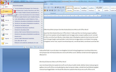 cara membuka ms office word