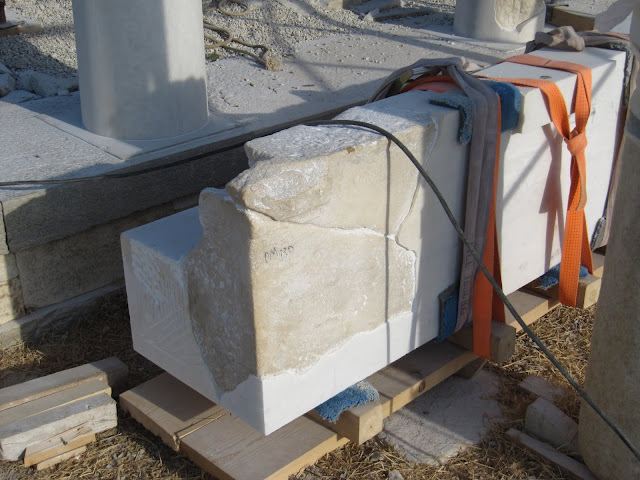 Newly restored 2-tonne marble architrave ready to be installed on Despotiko