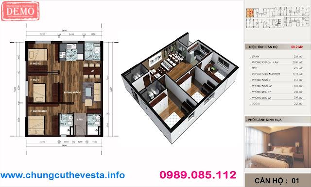 căn 69m2 chung cư the vesta