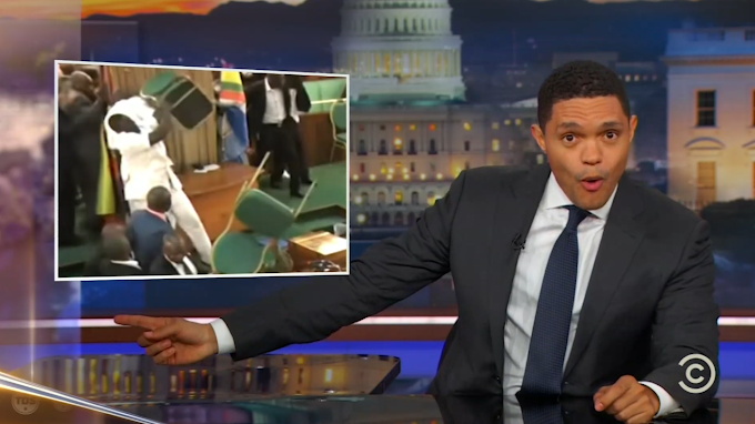'The Daily Show' breaks down crazy Ugandan parliament brawl
