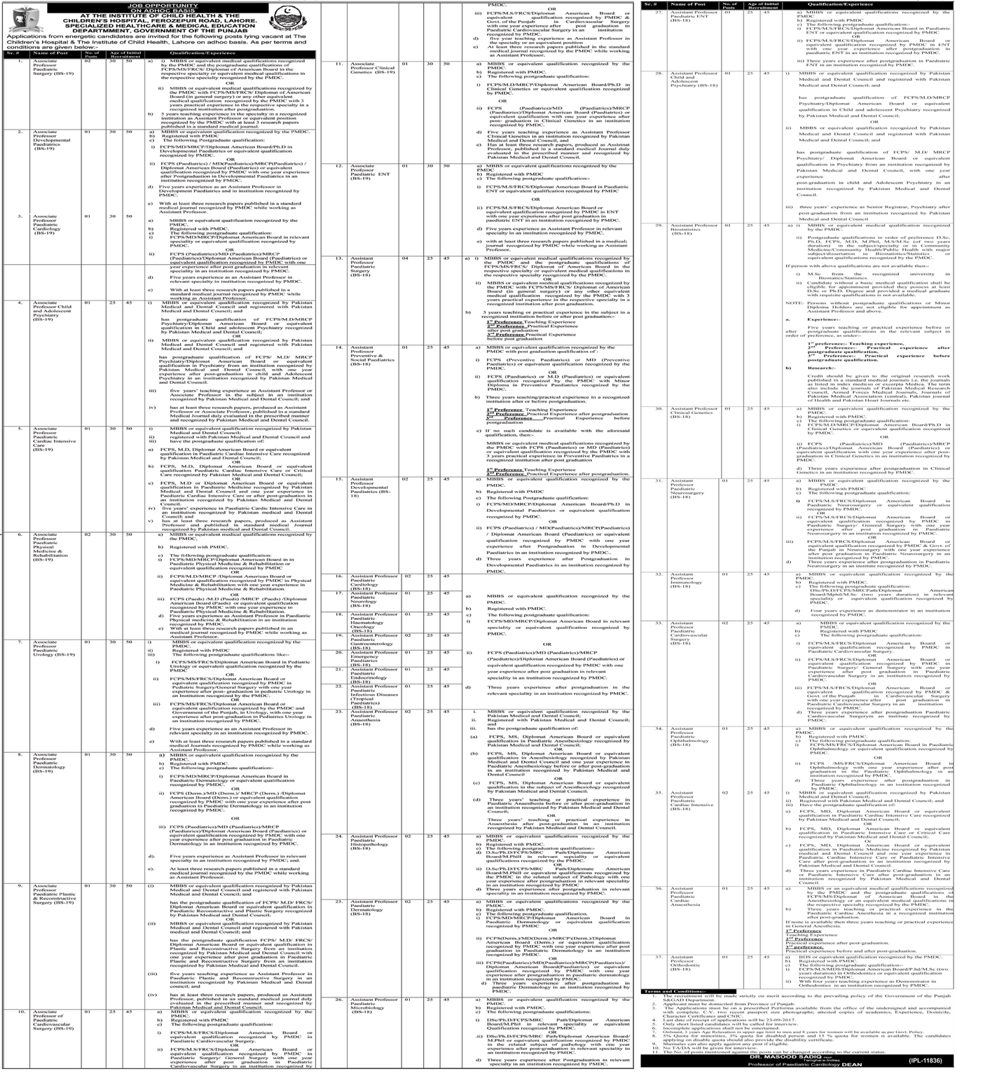 Children Hospital And Institute Of Child Health Jobs In Lahore 2017