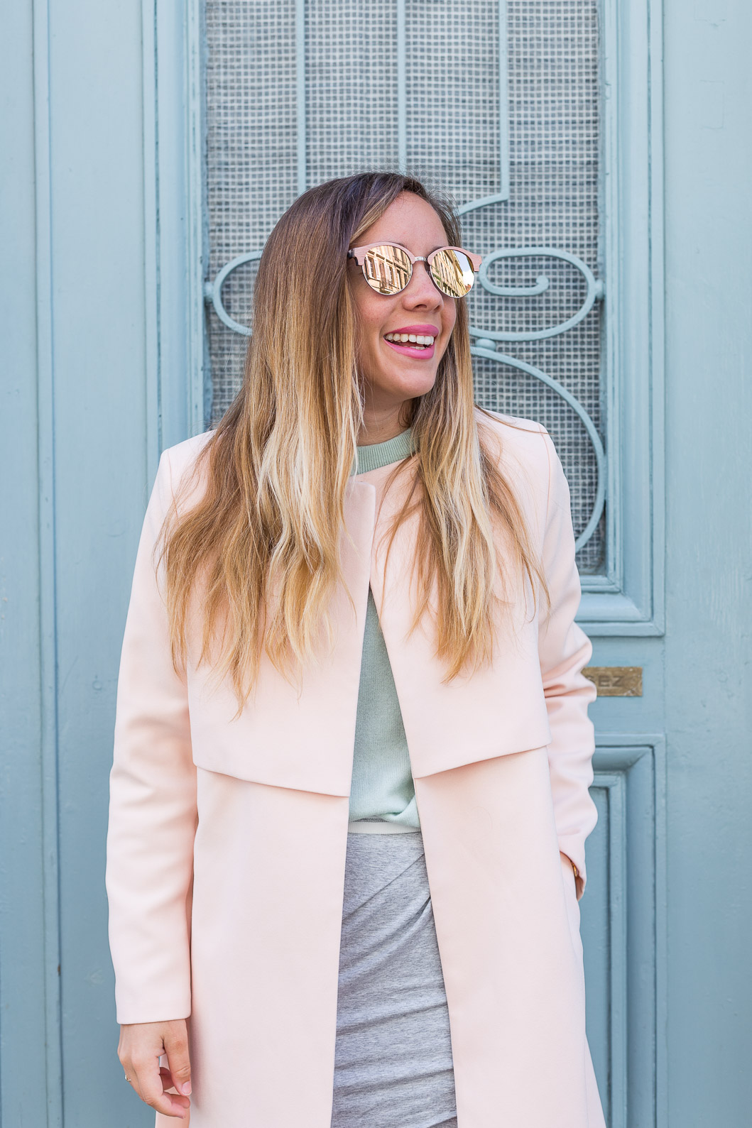 manteau trench rose pastel