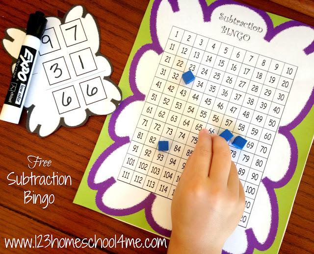 Subtraction Bingo - cool math games for first grade, 2nd grade, and 3rd grade kids