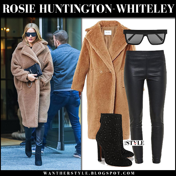 Rosie Huntington-Whiteley in camel coat maxmara aurelia, black leather pants paige molly and black ankle boots alaia winter celebrity style december 7