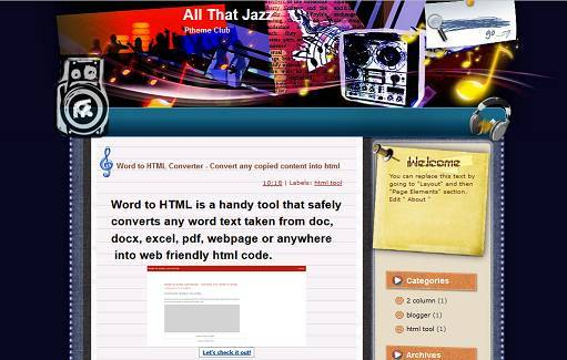 All That Jazz - Music Blogger Template - Free Instant Download ...