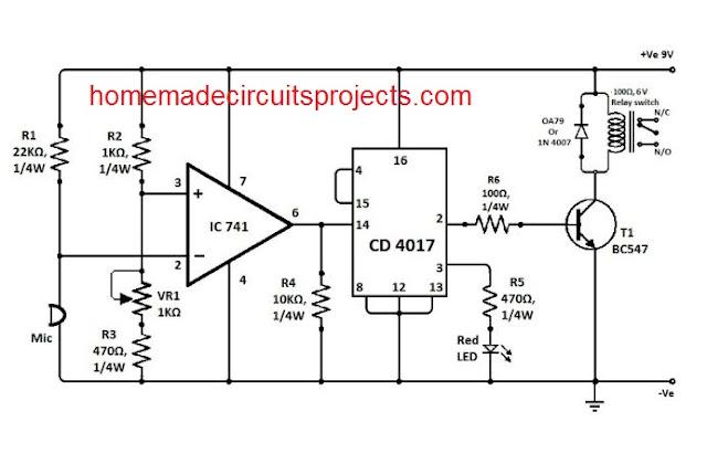 IC 741 clap switch circuit