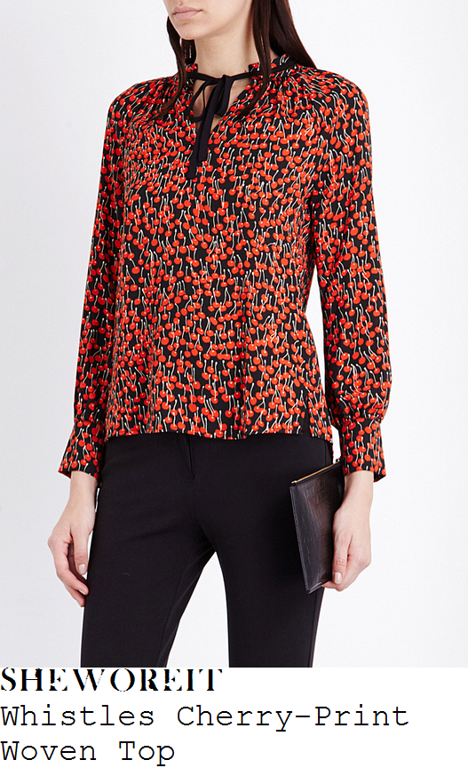 holly-willoughby-whistles-bright-red-black-and-white-cherry-print-long-sleeve-high-neck-gathered-contrast-tie-detail-blouse