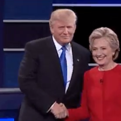 Donald Trump Hillary Clinton shaking hands first debate red pantsuit