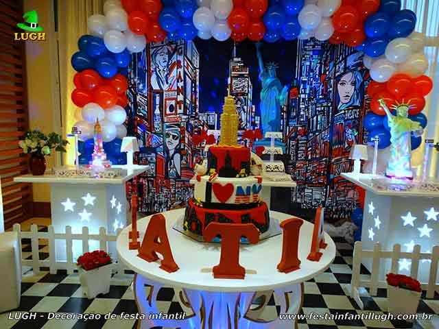 Tema Nova York - Mesa temática provençal para festa de aniversário infantil