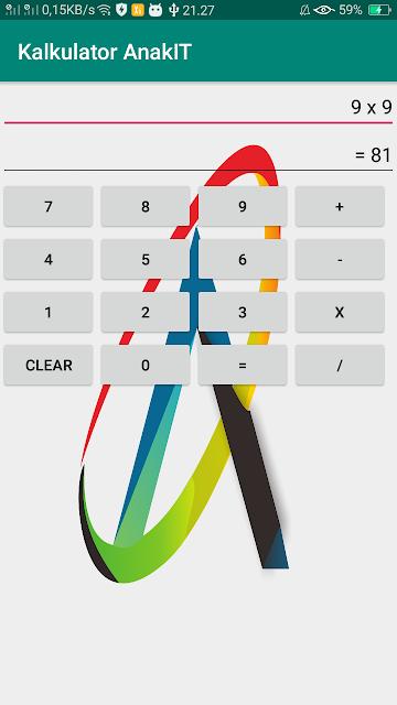 pengujian dari aplikasi kalkulator android studio