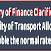Transport Allowance at double the normal rate plus DA to disable CG employees irrespective of the fact that they reside within one kilometre of office – MoF clarification