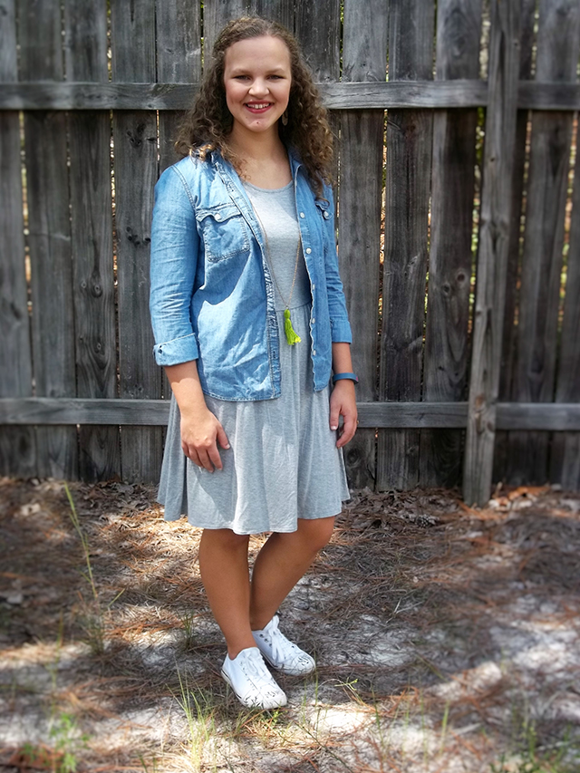 Fall Transition Outfit & Grace + Lace Link Up a fall transition outfit formula that works for any closet chambray shirt grey dress white converses tassel necklace grace and lace link up