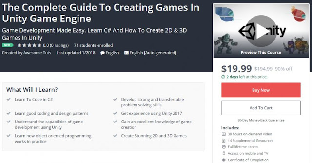 [19,99$ Only](NEW) The Complete Guide To Creating Games In Unity Game Engine