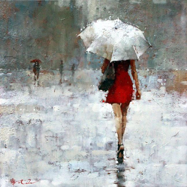Red Umbrella Painting Theme