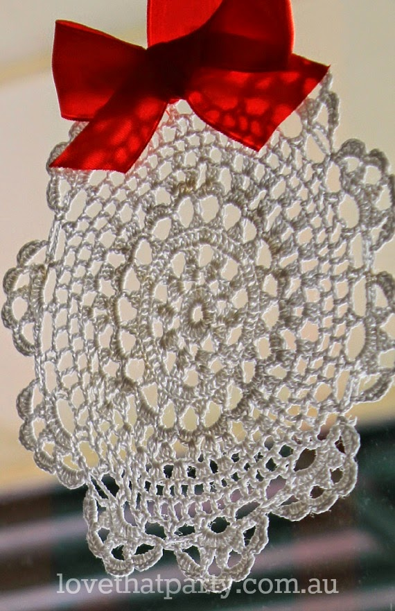 close up of vintage doily as a christmas decoration diy