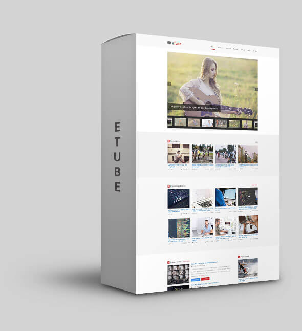 Template eTube - Video Blog / Magazine / Entertainment Ghost Theme (Bootstrap 4) Blogging