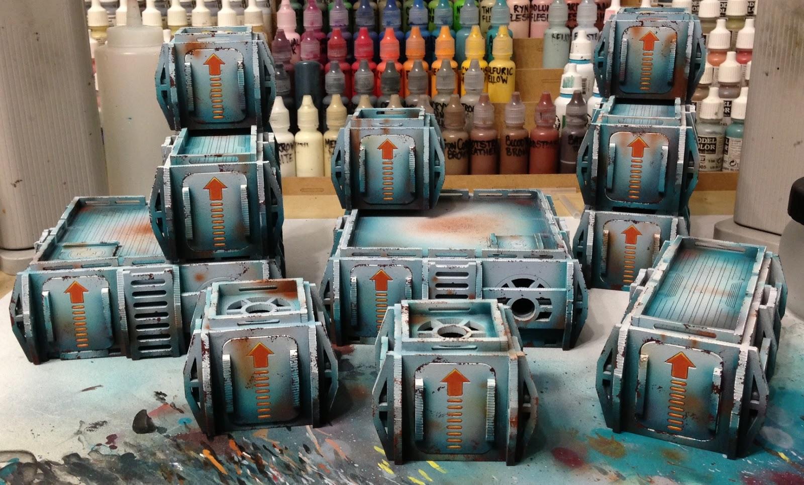 tom schadle miniatures: underground lasers crates finished