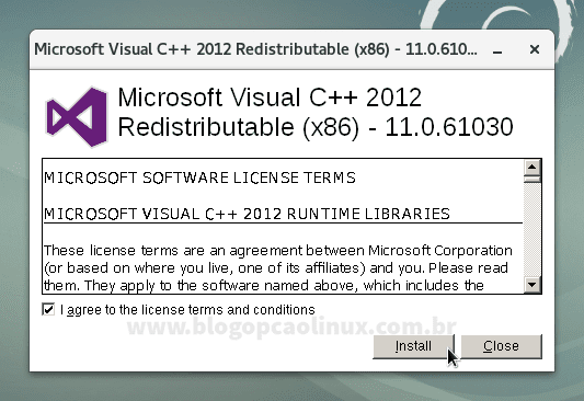 Instalador do Microsoft Visual C++ 2012 Redistributable