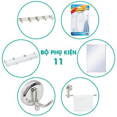 Bộ phụ kiện phòng vệ sinh 6 món giá rẻ quận 5, Sài Gòn