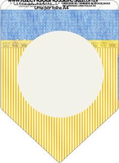 Banderines de Corona Dorada en Azul y Amarillo para imprimir gratis.