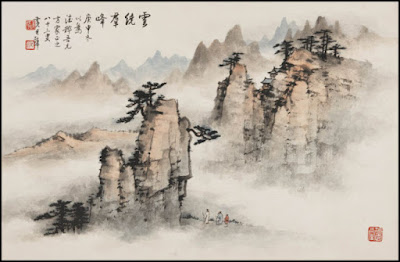 Chinese,Korean,watercolor,traditional,mountains,trees
