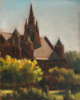 Oil painting of a Victorian-era ecclesiastical building surrounded by trees and shrubs.
