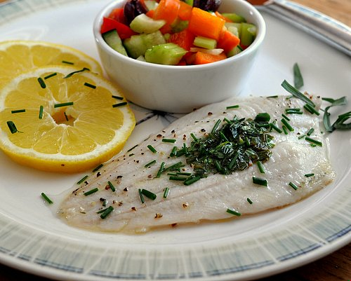 Fish with Herb Butter, another Quick Supper ♥ KitchenParade.com, simple broiled fish, topped with a little butter and fresh herbs, quick enough for a weeknight, special enough for company. Low Cal. Low Carb. High Protein Weight Watchers Friendly.