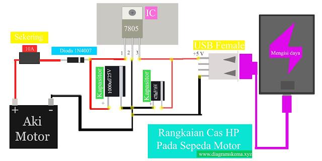 Diagram Skema Rangkaian Cas HP pada Sepeda Motor