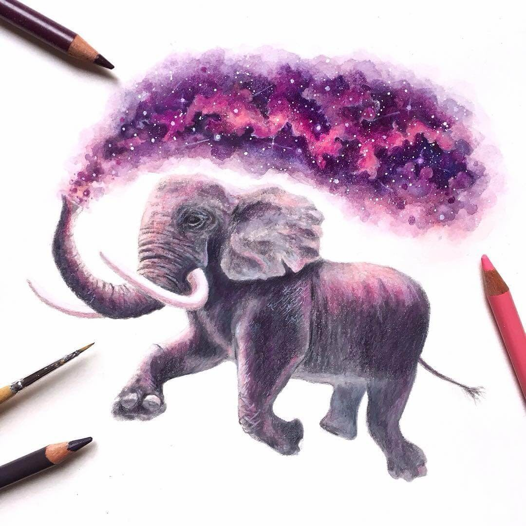 06-Elephant-David-Ambarzumjan-Cosmic-Space-Fantasy-Animal-Drawings-and-Paintings-www-designstack-co