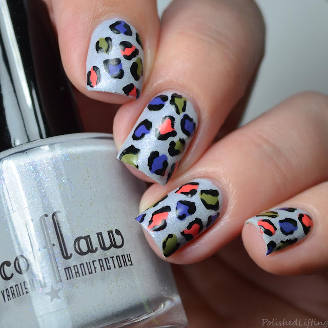 autumn themed leopard print nail art