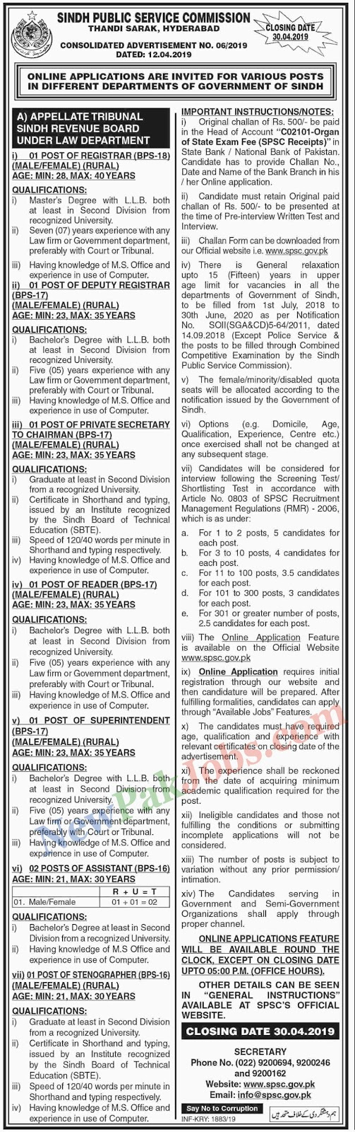 Sindh Public Service Commission SPSC Jobs Advertisement 06/2019