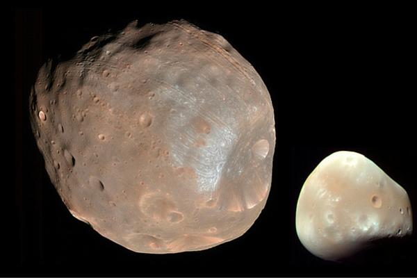 Color composite of Phobos and Deimos