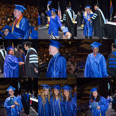 Collage of photos featuring graduates at the 2018 commencement ceremony.