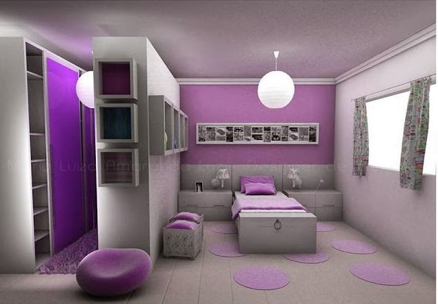 habitación lila para chica