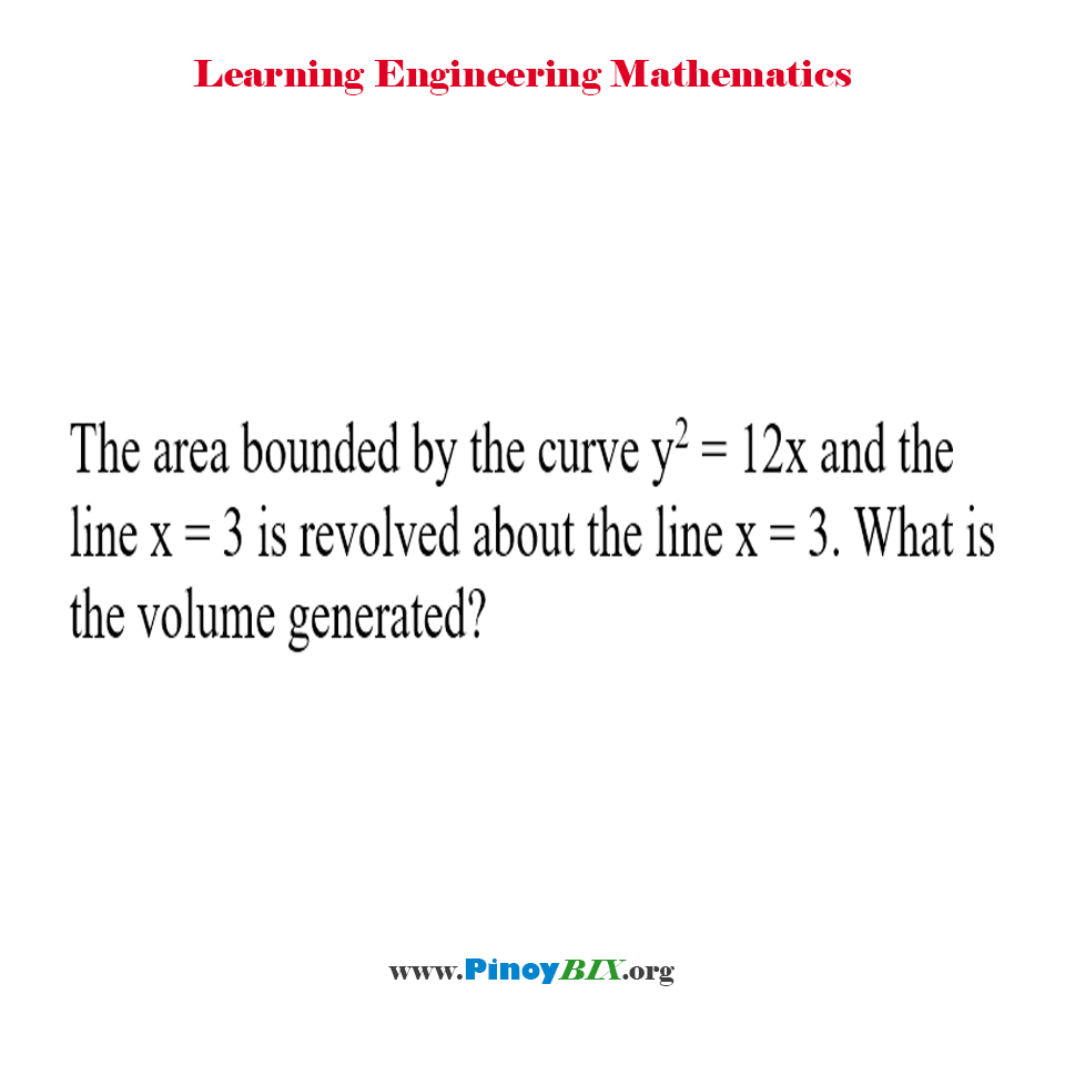 What is the volume generated by the curve revolved about the line?