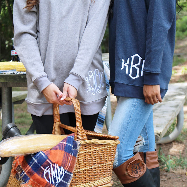 monogrammed grey and blue sweatshirt tunic for fall