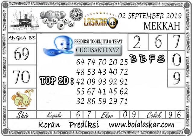 Prediksi Togel MEKKAH LASKAR4D 02 SEPTEMBER 2019