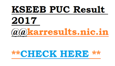 KSEEB PUC Result 2017 at karresults.nic.in