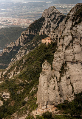 A mountain view of Santa Cova, where the Black Madonna statue was found in Monserrat
