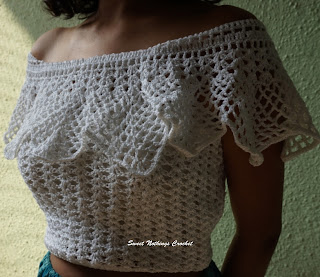 free crochet pattern, free crochet top pattern, free crochet ladies wear, free cotton top pattern, free off the shoulders top pattern, anchor knitting cotton, beach wear, summer wear, boho top, bohemian top, strappy top,