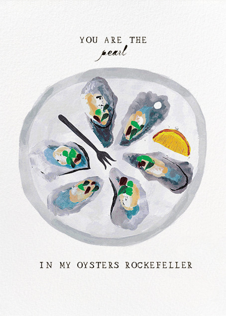 Food-Themed Valentine's Day Cards -- Oysters