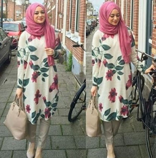 Tunik batik kombinasi hijab modern