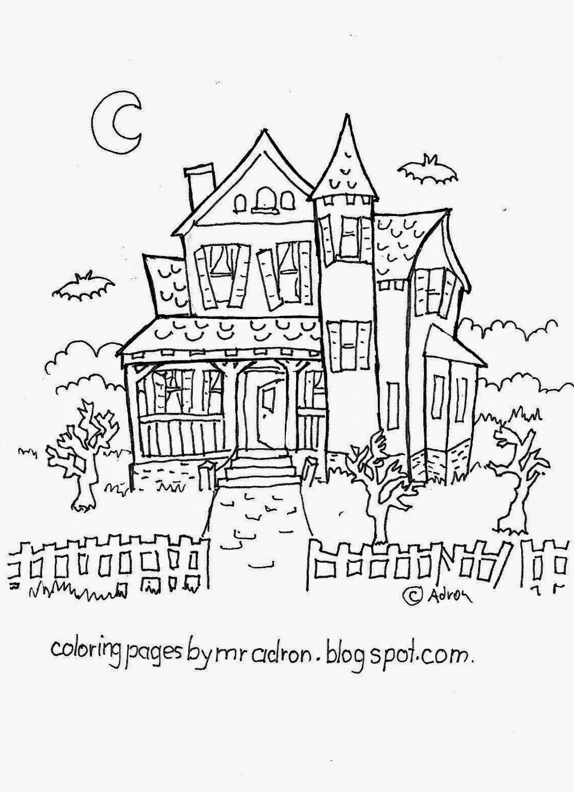 Haunted House Free Haloween Coloring Page