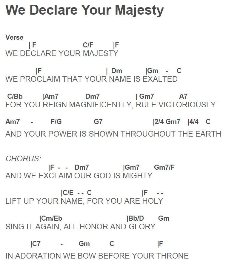 Lyric lyrics to majesty : Ripple Thoughts: We Declare Your Majesty guitar chord