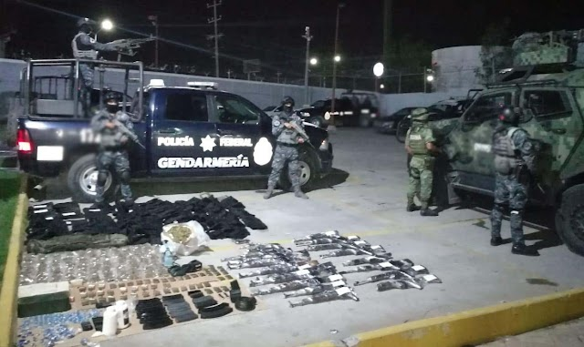 EN TAMAULIPAS, POLICÍA FEDERAL Y SEDENA ASEGURAN MUNICIONES Y ARMAS DE FUEGO