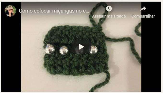 Como colocar miçangas no crochê