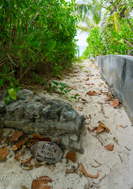 Beach Access painted rock, Man O War, Abacos